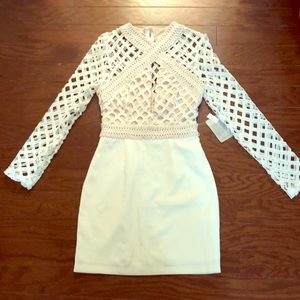 NWT Missguided White and Tan Lattice Dress